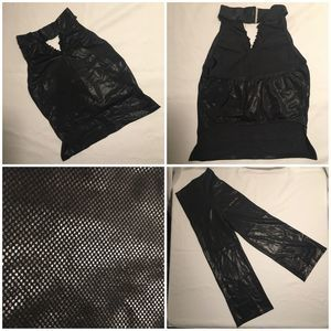 Pleather 2Piece Halter Top Crop Pant Dance Costume